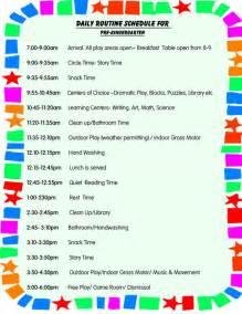 preschool classroom schedule template success
