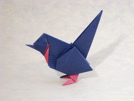 Origami Blue Bird - origami wren by diaz folded from a square of duo