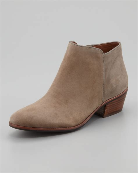 Sam edelman womens petty suede ankle boot tan in brown lyst