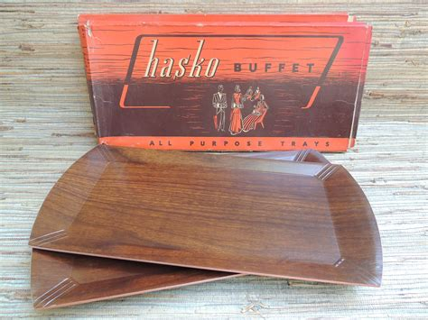 box and corp chicago hasco buffet two sets of four trays in original boxes