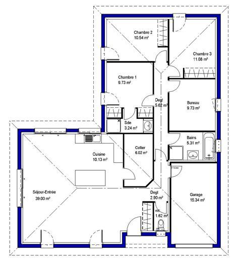 plan maison 3 chambres 1 bureau plan maison 3 chambres 1 bureau 7 plans de maisons