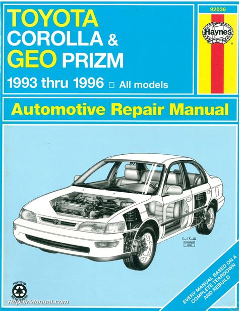 car repair manuals download 1996 chevrolet astro transmission control haynes toyota corolla geo chevrolet prism 1993 1996 auto repair manual