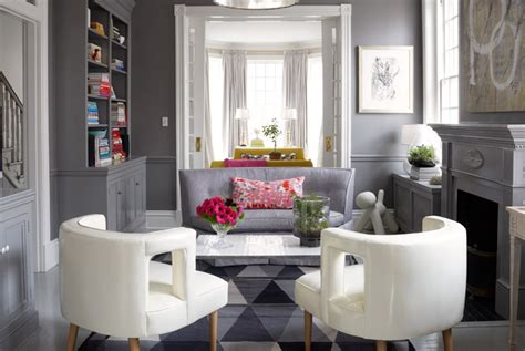 gray walls  gray chair rail contemporary living room