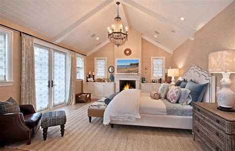 Vaulted ceiling beams living room farmhouse with slipper chair neutral colors white wood