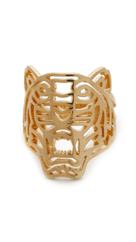 kenzo tiger ring in gold lyst