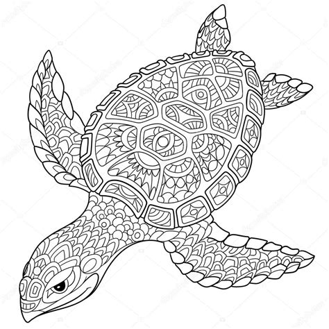 coloring pages for adults turtles zentangle tartaruga stilizzata vettoriali stock