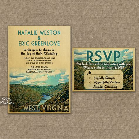 Wedding Invitations Virginia by West Virginia Wedding Invitations Vtw Nifty Printables