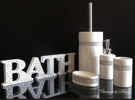 new 5pc diamante bling white ceramic bathroom accessory