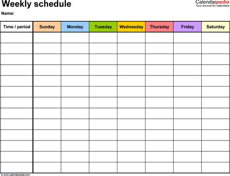 7 schedule template weekly memo formats