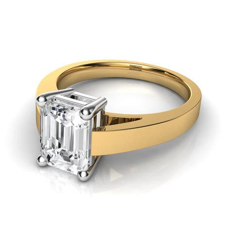 flat edged cathedral emerald cut engagement ring