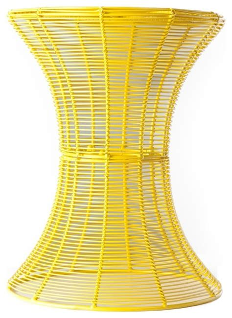 Yellow Metal Side Table Indoor Outdoor Metal Accent Table Yellow Contemporary Side Tables And End Tables By