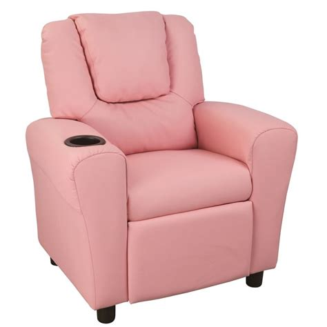 pu leather kid s size recliner sofa chair in pink buy