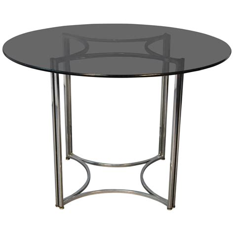Glass And Chrome Dining Table Smoked Glass Top Thin Chrome Dinette Table At 1stdibs