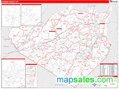 zip code map orange county orange county ny zip code wall map red line style by