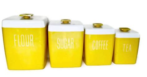 canister sets for kitchen counter yellow vintage canisters vintage yellow canister set kitchen by vintagethatsmintage