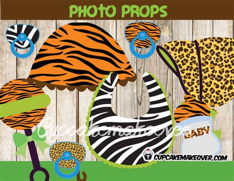 printable safari photo booth props jungle animals baby shower package instant download