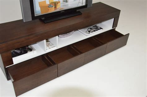 custom low profile media console design with drawer and