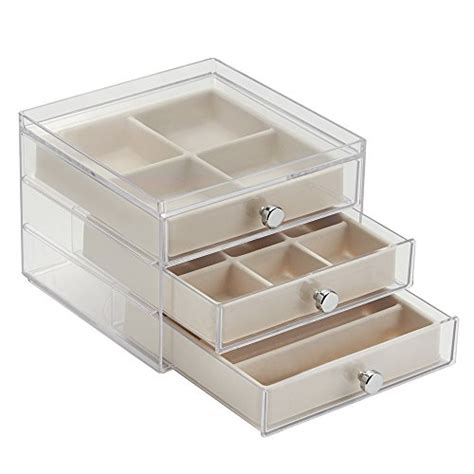 Jewelry Containers For Drawers by Interdesign 3 Drawer Slim Jewelry Box Clear Ivory