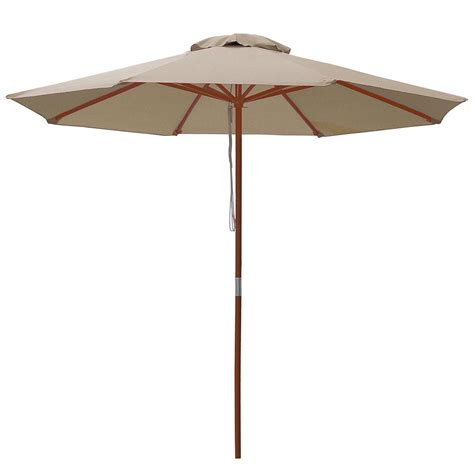 Wooden Patio Umbrella 9 Ft 8 Ribs Patio Wood Umbrella Wooden Pole Outdoor Sunshade Market Garden Yard Ebay