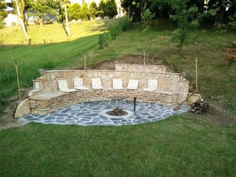 Steep Hill Backyard Ideas They Built A Fireplace Into Their Sloping Hillside The