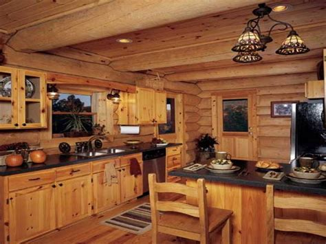 distressed white cabinets rustic log cabin kitchen