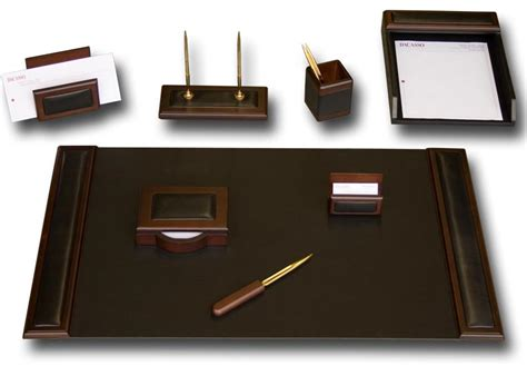 D8412 Walnut Leather 8 Piece Desk Set Desks Accessories