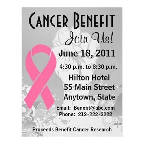 breast cancer personalized benefit flyer zazzle