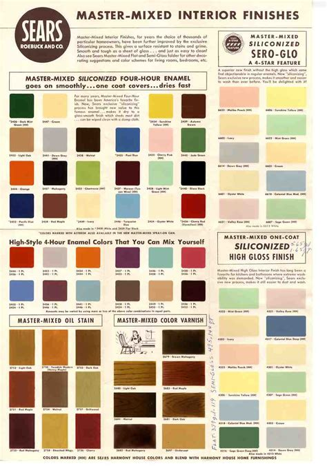 paint colour schemes 1950s and 60s paint colors from sears classic harmony