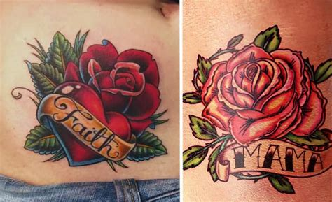 rose and banner tattoos 70 traditional school flower tattoos golfian