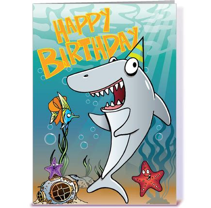 Shark Birthday Card Shark Birthday Greeting Card By Tim Read Illustration