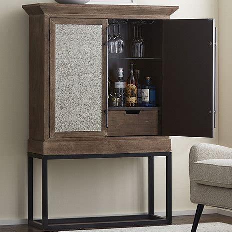 Glass Door Bar Cabinet Antiqued Mirrored Glass Door Bar Cabinet Wine Enthusiast