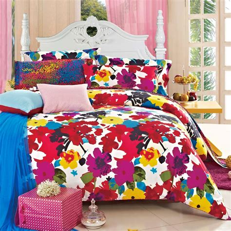 bright floral bedding red and bright colorful fashion luxurious floral 100
