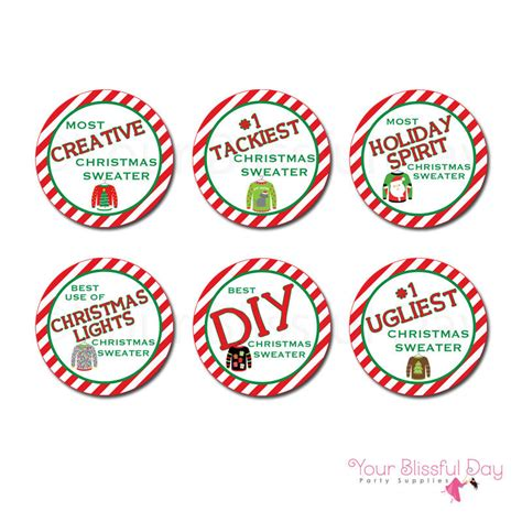 printable trophy stickers ugly christmas sweater award sticker circles ugly christmas