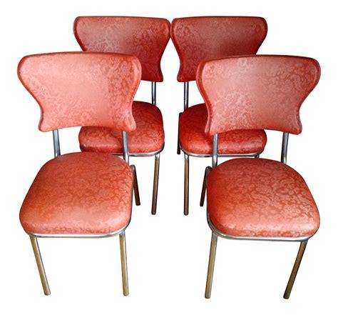 Retro Vinyl Dining Chairs Retro 1950s Vinyl Chrome Dining Chairs Set Of 4 Chairish
