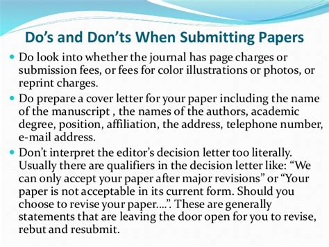 revise and resubmit cover letter basics of research paper publishing
