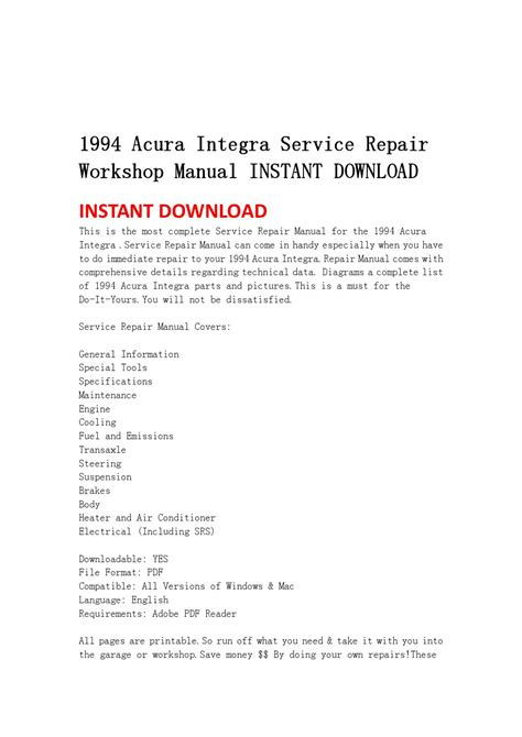 service repair manual free download 1999 acura integra auto manual 1994 acura integra service repair workshop manual instant download by jsehfjsnen issuu