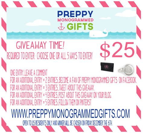 Cyber Monday Giveaway Amazon - cyber monday giveaway preppy monogrammed gifts