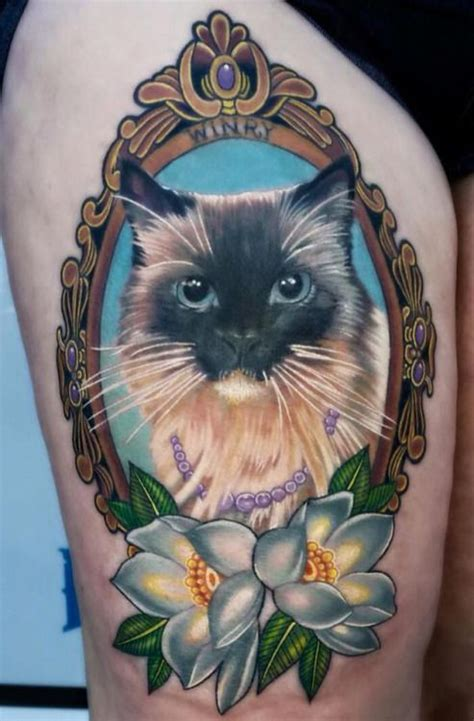 cat tattoo neo my cat done in realism mixed with neotraditional done by