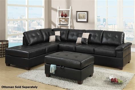 furniture couches sectional poundex reese f7519 black leather sectional sofa steal a