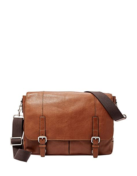 Fossil Satchrl Perfo Cognac fossil graham canvas messenger bag in brown for lyst