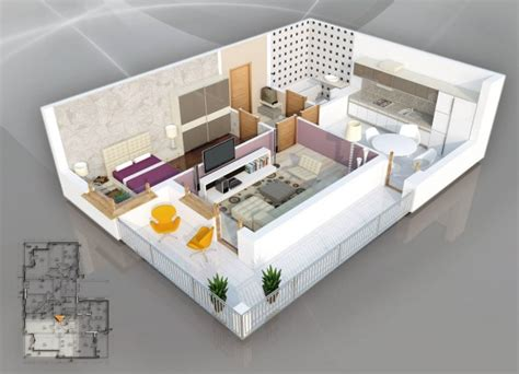 home design 3d non square rooms 50 plans en 3d d appartement avec 1 chambres bedroom