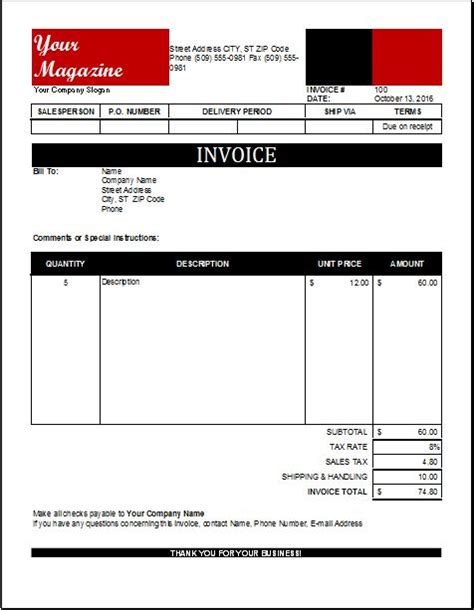 magazine subscription form template magazine subscription invoice for excel excel invoice