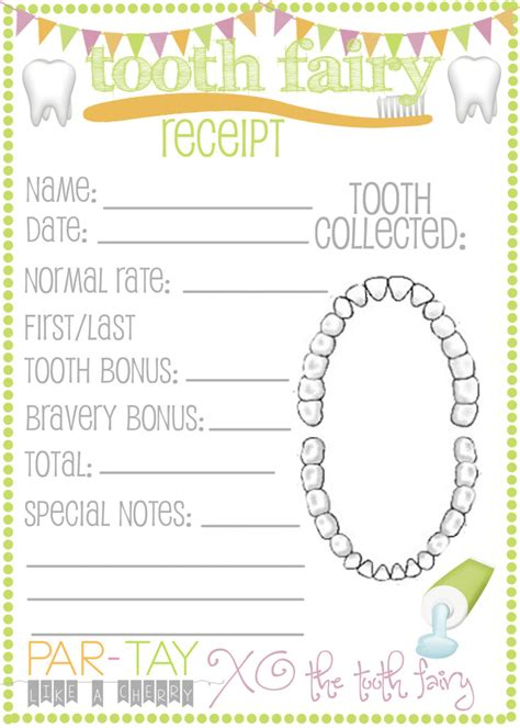 tooth receipt template free the tooth came like a cherry