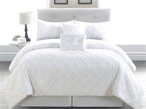 White Bed by 6 King Melia White Comforter Set Ebay