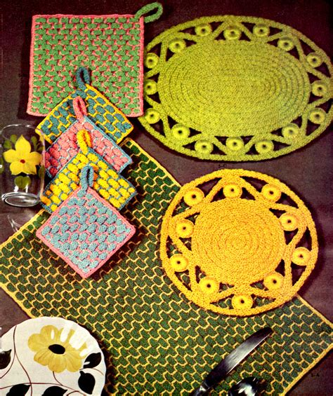 crafts patterns vintage crochet rope craft placemat and plate patterns
