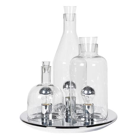 Glass Bottle Table L chrome set of glass bottles table light mulberry moon