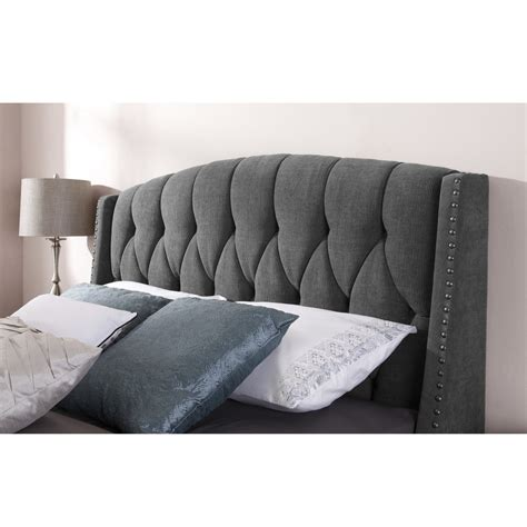 modern grey tufted king size headboard with the sophia