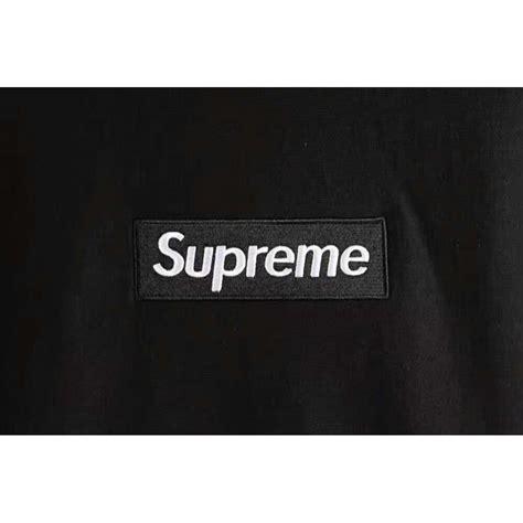 Hoodie Sweater Black Front Logo supreme front label hoodie black
