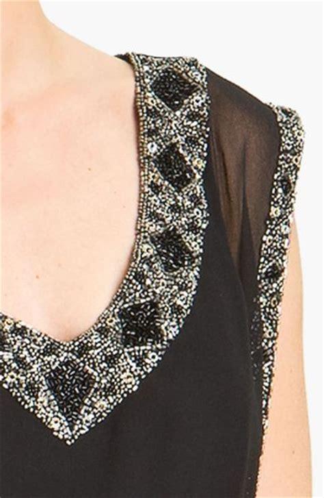 beaded chiffon blouson dress j kara beaded trim chiffon blouson dress in black lyst