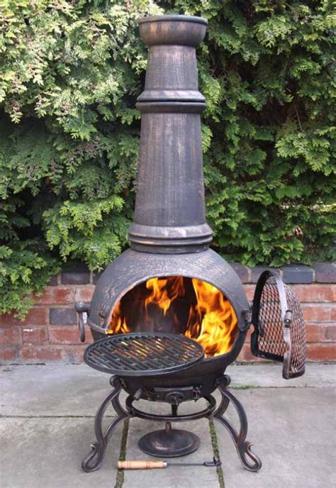 large chiminea outdoor fireplace jumbo toledo bronze cast iron chimenea fireplace with bbq